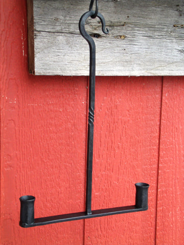 Primitive Wrought Iron Hanging Candle Holder