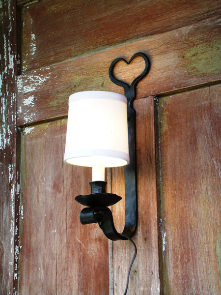 Electric Wall Sconce, Heart Shape, Hand Forged Wrought Iron