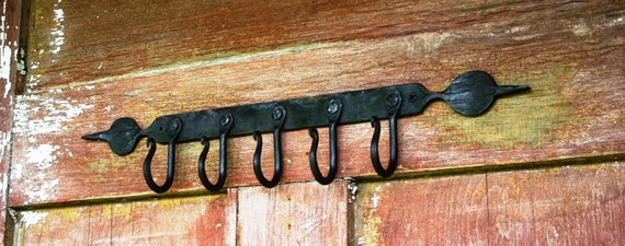 Hook Rack, Ball And Spear End, Hand Forged Iron