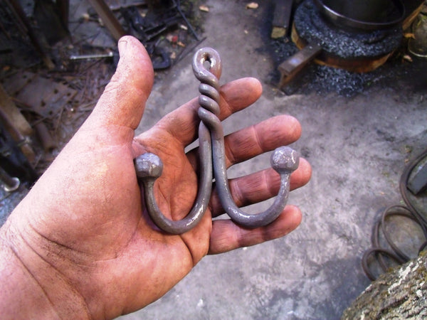Twisted Double Ball End Hook, Hand Forged Wrought Iron