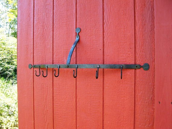 Pot Rack, Half Round, Hand Forged Iron