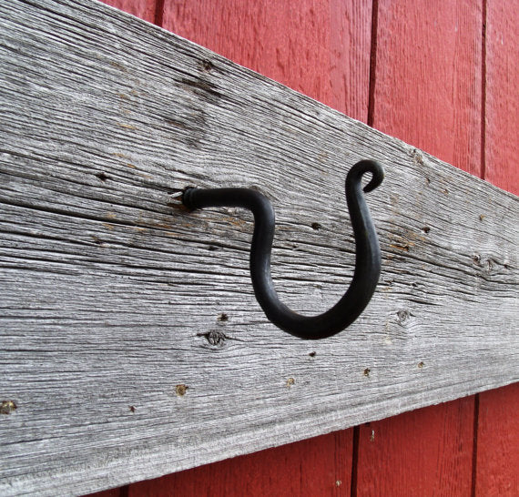 Screw In Wall Hook, Hand Forged Wrought Iron