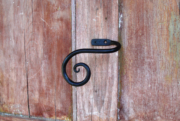 Curtain Tieback, Weston Scrolled End Style, Hand Forged Wrought Iron