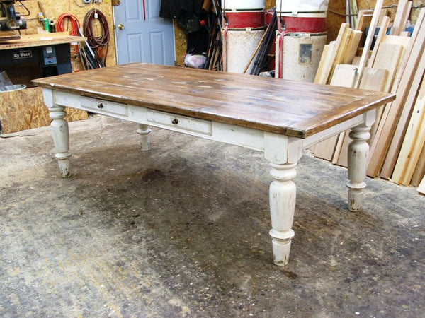 Farmhouse table in white scrubbed pine