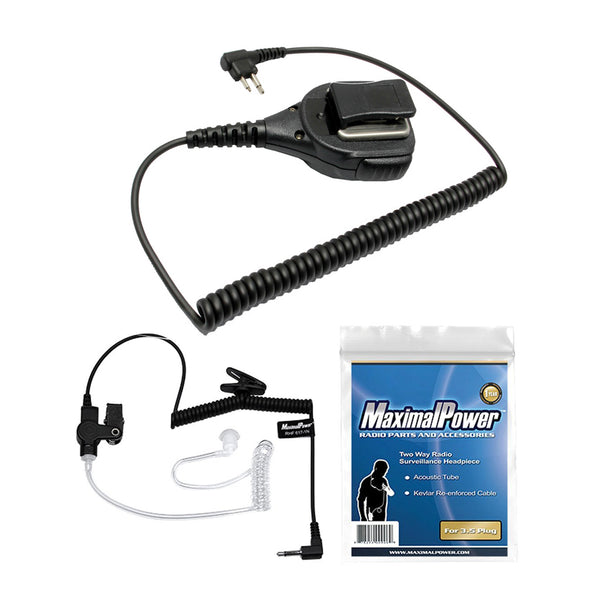 2-Way Palm Speaker Mic w/ 3.5mm Clear Coil Acoustic Tube & Earpiece for MOTOROLA 2-Way Radio Headset