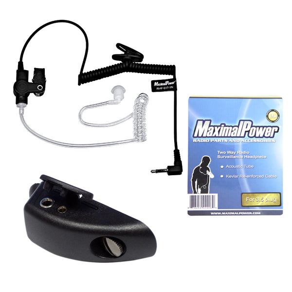Listen-Only Headset Clear Coil Tube Earbud + 3.5mm plug for Motorola HT750 2-way Radios (Combo)