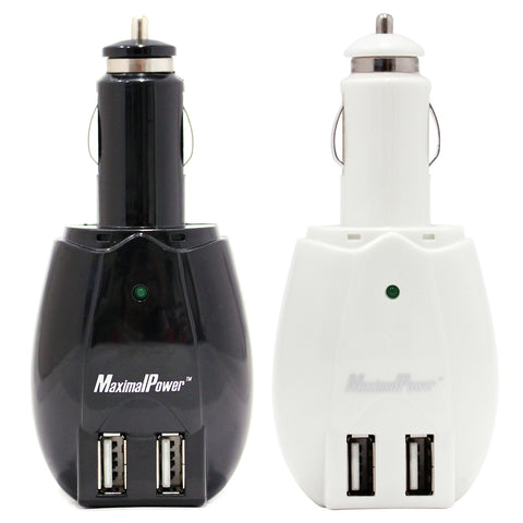 MaximalPower DUAL PORT USB DC Cigarette CAR CHARGER + Wall AC Adapter Plug (White or Black)