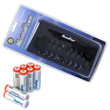 8x AA Rechargeable Batteries + 8-Port AA AAA Ultra Fast Charger
