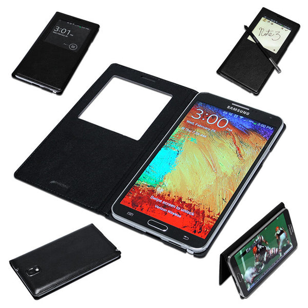 Leather Flip S View Case For Samsung Galaxy Note 3 III N9000 Smart Cover Case