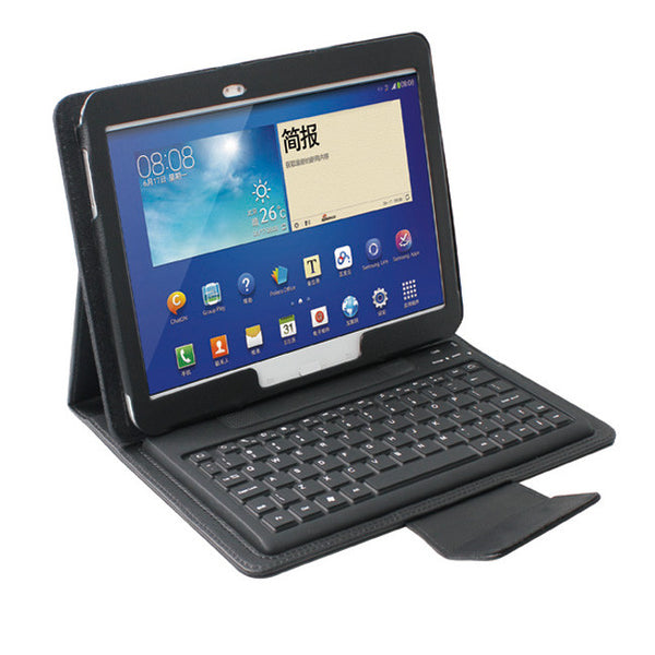 BLUETOOTH KEYBOARD Black Leather Folio Case For SAMSUNG GALAXY TAB 3 10.1""
