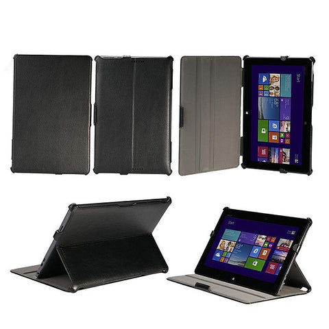"Black Leather Slim Folding Folio Case For ASUS Transformer Book T100 10.1"" Heat Setting Case"