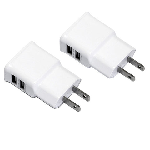 Pack of 2 Dual-Port USB Home Power Outlet AC Wall Charger Plug Adapter for iPhone