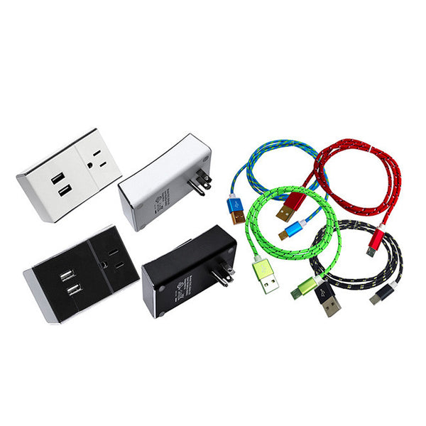 2-Port USB AC Power Outlet + Pack of 2 High Speed Micro USB Fast Charging Cable for Samsung LG HTC & Other Android Smartphones