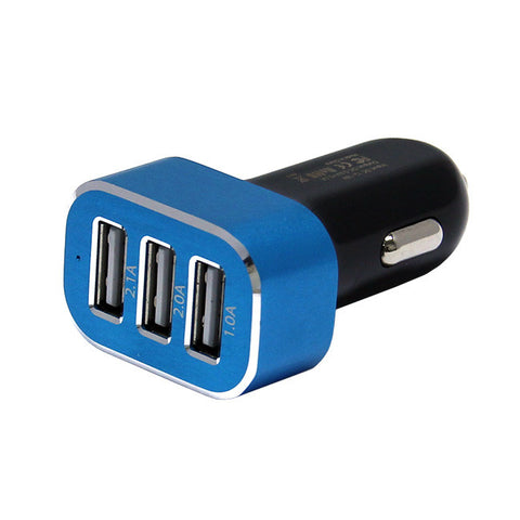 SONIC SPEED Mini TRI-USB DC Car Charger for Smartphones, Tablets and other USB Devices