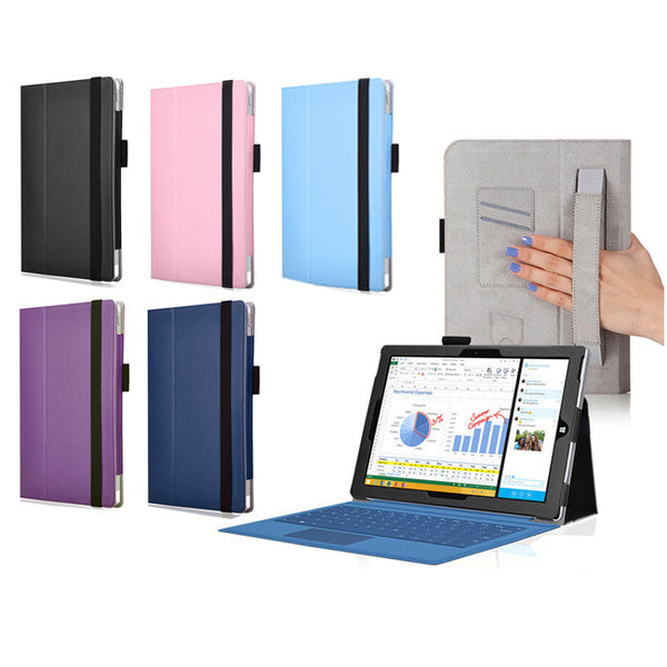 Leather Folio Soft Cover Case For MICROSOFT SURFACE PRO 3 12-inch with Stand