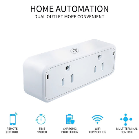 New MaximalPower Wifi Smart Plug with Dual Outlets: Works with Amazon Alexa or Google home