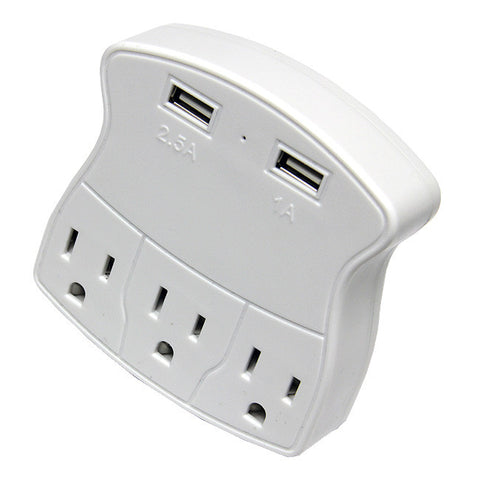 3-STANDARD WALL OUTLET + 2-USB CHARGING PORTS FOR iPhones Android PC Tablets