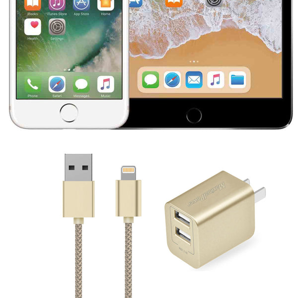 Lightning Cable Charger 1-Meter & Dual USB Port Wall Adapter (Gold)