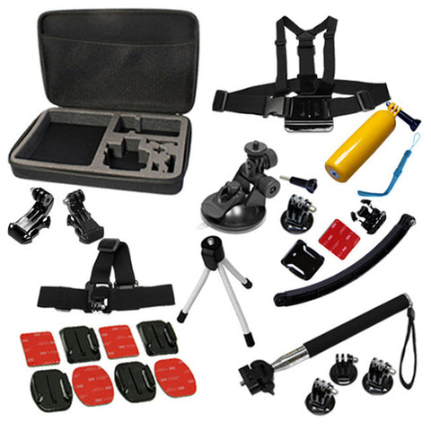 18 in 1 Sports Outdoor Accessory Kit Plus Large Travel Case Bag For GoPro HERO Hero4 3+ 3 2 Cycling Snowboarding Surfing Skydiving Kayaking