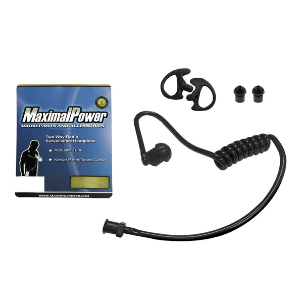 Replacement Black Acoustic Tube with Medium Left-Right Earbud + Eartips for Two-Way Radio Headsets