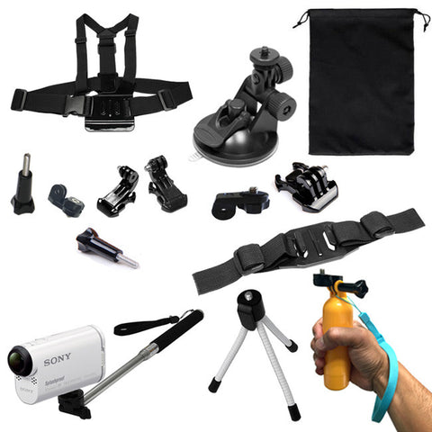 6 in 1 Sports Outdoor Accessory Bundle + Travel Pouch For SONY Action Cameras