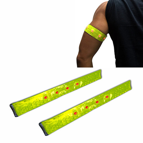 Pack of 2 Running Jogging Cycling Reflective Snap Strap LED Light ARMBAND Wrist Ankle