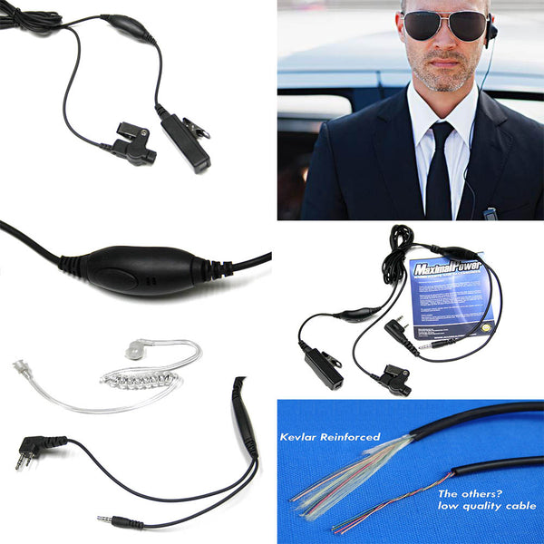 Covert Earbud Mic Coil Cord with KEVLAR Reinforced for KENWOOD 2-WAY RADIOS 1 Wire 2 Pins Plug with MP3 Plug for Ipod