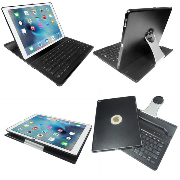 BLUETOOTH KEYBOARD For iPad Pro w/ 360 Degree Swivel Stand + Hard Folio Case