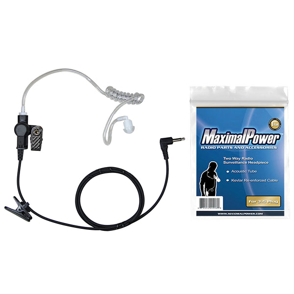 Listen-Only Headset for Two-Way Radios w/ Clear Coil Tube Earpiece & 3.5FT Wire (Long Length)
