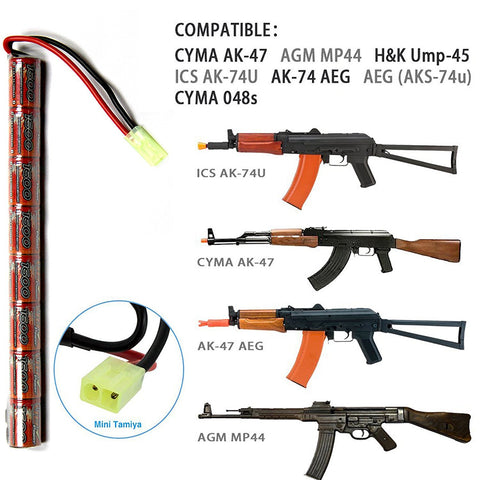Airsoft AEG PEQ NiMH Charger or Battery Connecter w/ Mini-Tamiya Plug with 16 G Wire 9.6V 1600mAh