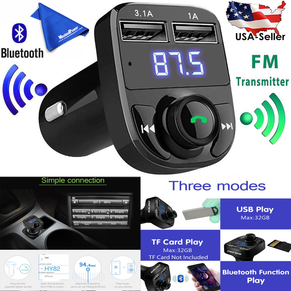 Bluetooth FM Transmitter Music Adapter Car Charger,3.1A Dual USB Port Compatible for Apple iPhone,Samsung,HTC,LG etc