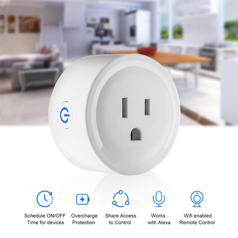 Smart Wi-Fi wifi Mini Outlet Plug Switch Works With Echo Alexa Remote Phone APP