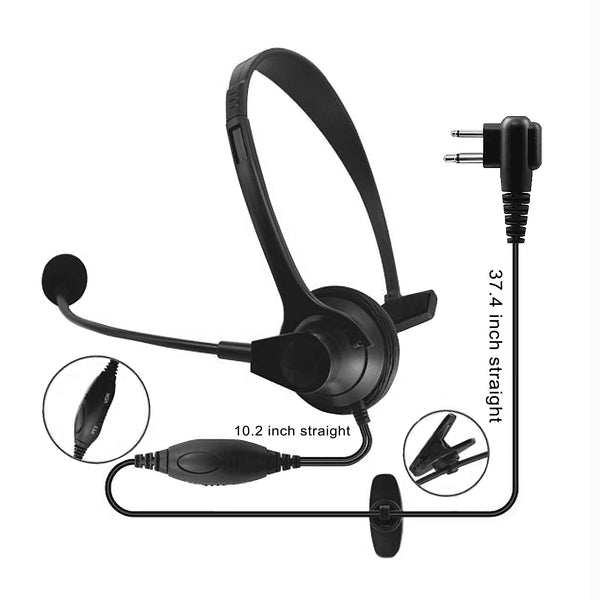JH902 Headset w/ Microphone & Push-to-Talk with 2-Pin Connector for MOTOROLA CP200 Radio Devices
