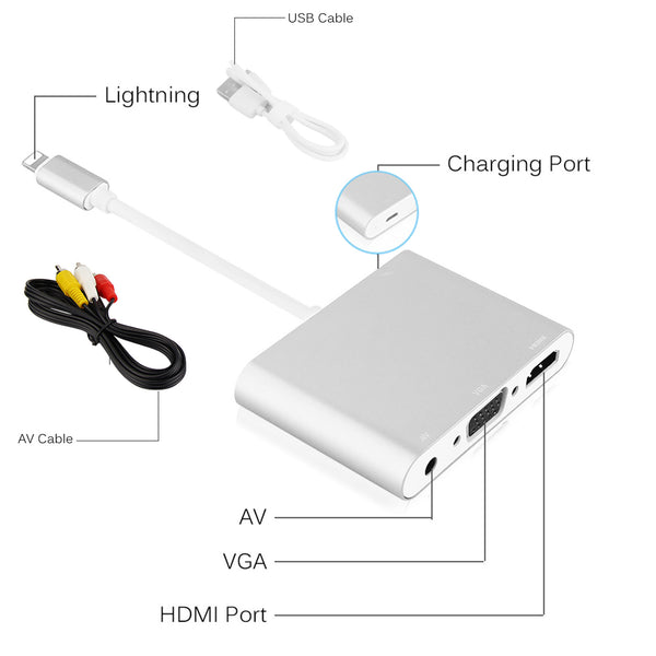 MaximalPower™ 4 in 1 Lightning to HDMI/VGA/AV/ 3.5mm Audio Port Adapter