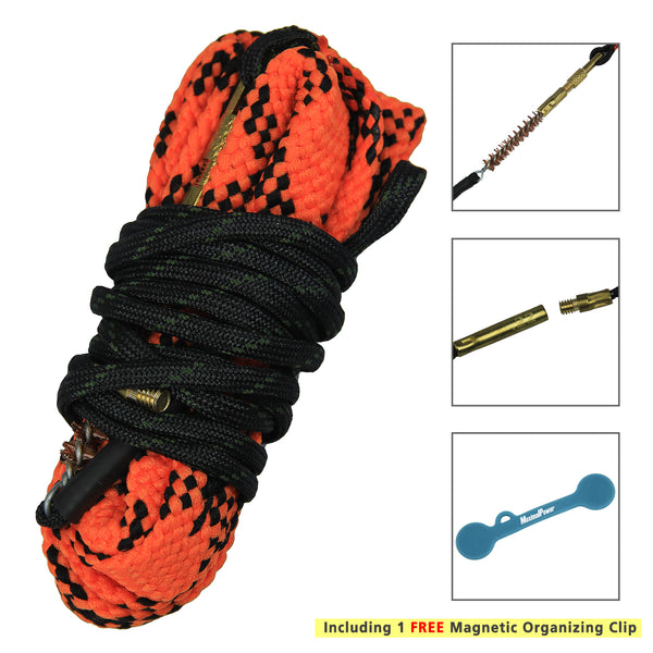 "Snake-Rope Cleaning Kit for .22 cal Firearms w/ 2.5"" Wide Round Bore Chamber + Free Magnetic Clip"