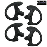 Black Left & Right Medium-Size Silicone Earmolds for Two-Way Radio Acoustic Coil Tube