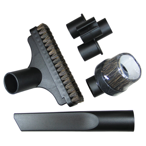 "Vacuum Cleaning Attachments for 1 1/4"" Hose Size w/ Upholstery, Crevice & Round Nozzles & Tool Caddy"