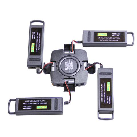 4-in-1 Multi-Port Battery Charger for Yuneec Typhoon Q500 H480 & 7500mAh LiPo Drone Battery