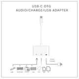 3-IN-1 OTG AUDIO ADAPTER FOR TYPE-C SMARTPHONES W/ USB 3.5MM JACK & MICRO-USB TYPE-C PORT SPLITTER