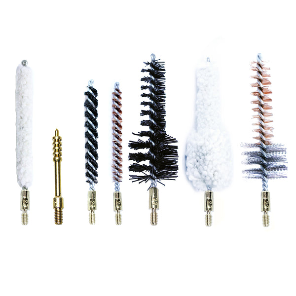 7-Pack Bore Cleaning Brushes w/ Brass Jag Phosphor Bronze Nylon Cotton Mop & Chamber in Multi Sizes