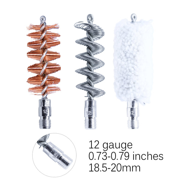 MaximalPower™ Combo Set of Gun Cleaning Bore Brushes - Tornado Brush Solid Brass Jag Phosphor Bronze Nylon Cotton Chamber Brush Mop - For 12 Gauge/18.5-20mm, Caliber .357/.45 Size 9mm/10mm - Rifle, Pistols, Revolvers, Shotguns, and other Firearms