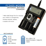 ALL-IN-ONE Universal Battery Charger for AA, AAA, 9V, N, RCR123, 18650, Ni-MH, Ni-CD Rechargeable Batteries with Discharge Function (Small Adapter Version)