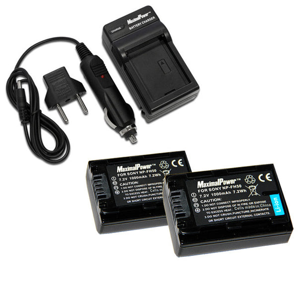 Pack of 2 Camera Batteries Plus Charger  For SONY NP-FH50