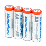 MaximalPower AA High Capacity 2600mAh NiMh Rechargeable Batteries 4 Pack Count