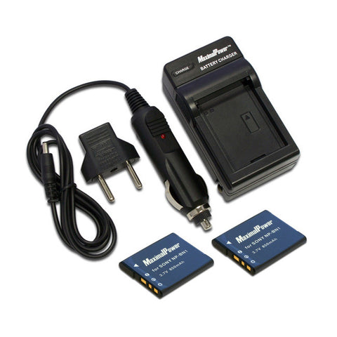 Pack of 2 Camera Batteries Plus Charger  For SONY NP-BN1