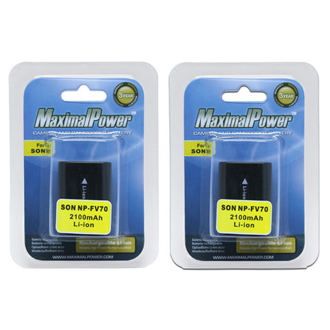 Pack of 2 Camera Batteries and 1 Charger  For SONY NP-FV70