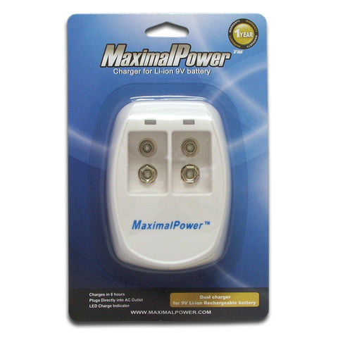 MaximalPower 9 Volt Rechargeable Batteries 9V Battery