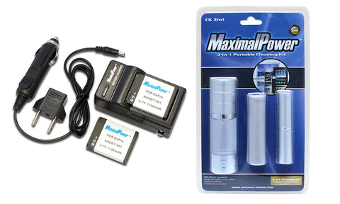 2-Pack Replacement Li-ion Battery & Charger Kit for GoPro HD Hero 2 3 4 with Free Cleaning Kit