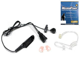 2-Wire Headset with Clear Coil Tube, Earbud, Earmold, and PTT Mic for Motorola HT750
