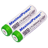 MaximalPower 2-PC Rechargeable Li-ion 3.7V 2600mAh Button-Ended Batteries for 18650 and 168A